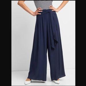 GAP navy wide leg pants with sash belt